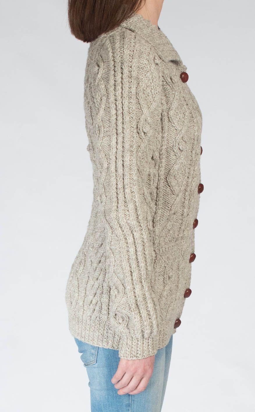 Ladies Luxury Hand Knitted Aran Cardigan Ness by Scotweb, 2020