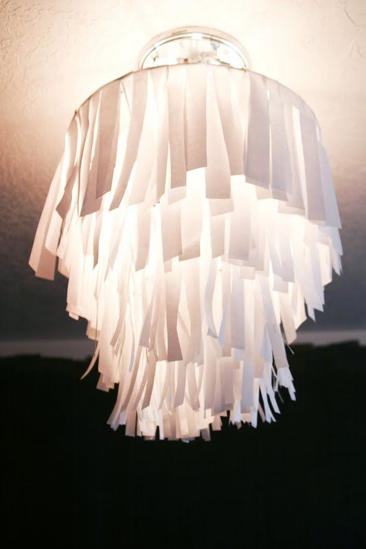 Diy butcher or wax paper strips chandelier wire hot glue reused diy butcher or wax paper strips chandelier wire hot glue reused lamp shade n lamp hanging equiptment aloadofball