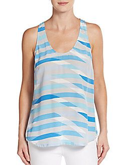 JOIE Drew Striped Silk Tank. #joie #cloth #tank