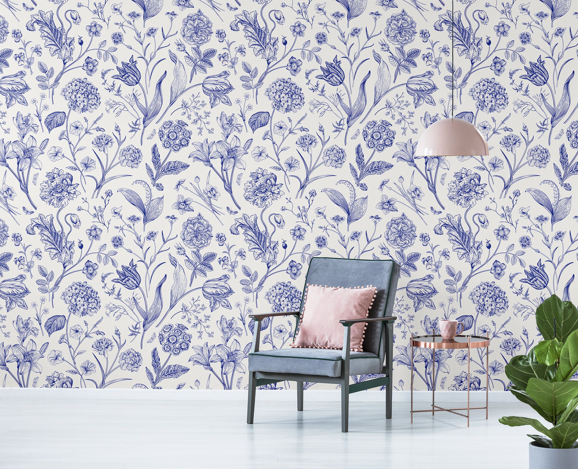 White wallpaper with blue floral pattern, self adhesive