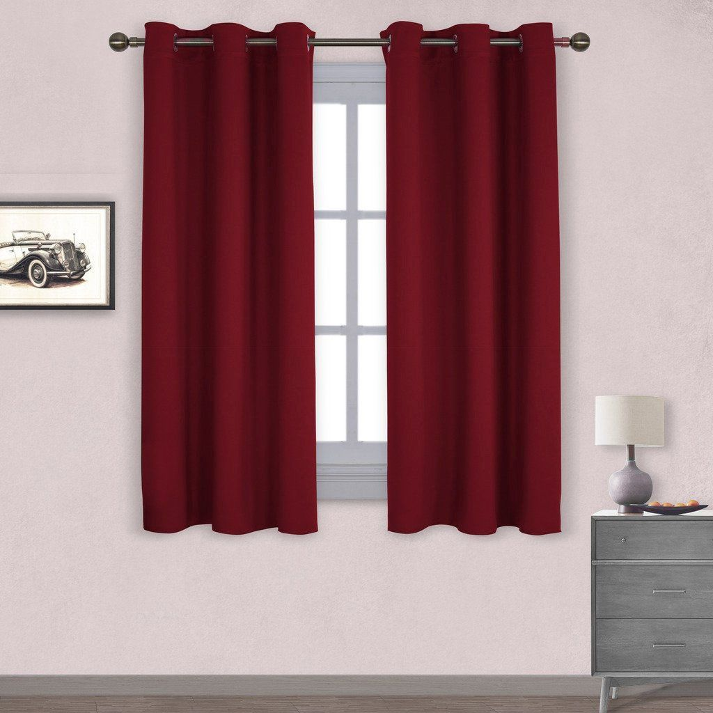 Burgundy Blackout Window Curtain for Kitchen NICETOWN