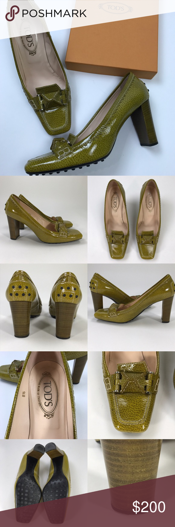 """[Tod's] Green Swing Selleria Pump Leather Heels Classic pair of Tod's pumps. Square toe moccasin style with block wood heel. Beautiful green patent leather.   🔹Heel Height: 3.25"""" 🔹Condition: Excellent pre-owned condition. A few small nicks/scratches on heels. No major flaws. Box and dust bag included. Tod's Shoes Heels"""