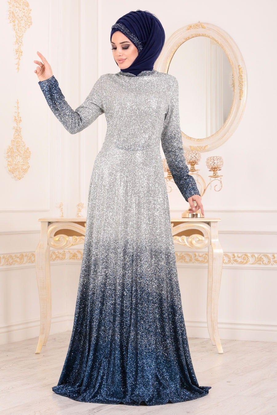 Tesetturlu Abiye Elbise Simli Indigo Mavisi Tesettur Abiye Elbise 8508im Tesetturisland Com Aksamustu Giysileri The Dress Elbise