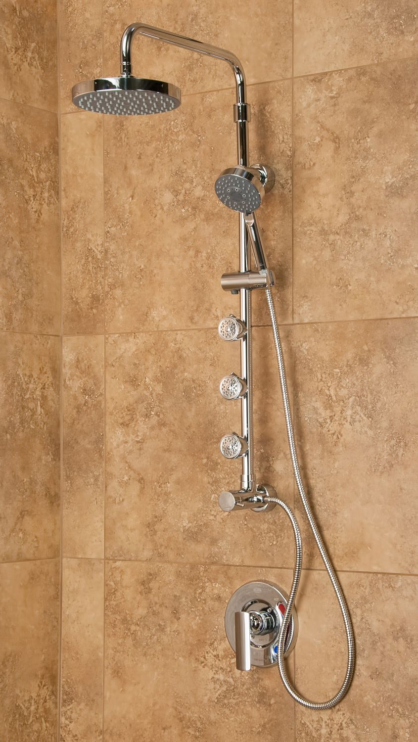 This Luxurious Shower Spa Features A Rainfall Shower Head, A Hand Held Shower  Head And Three Body Jets For The Ultimate In Shower Pampering.