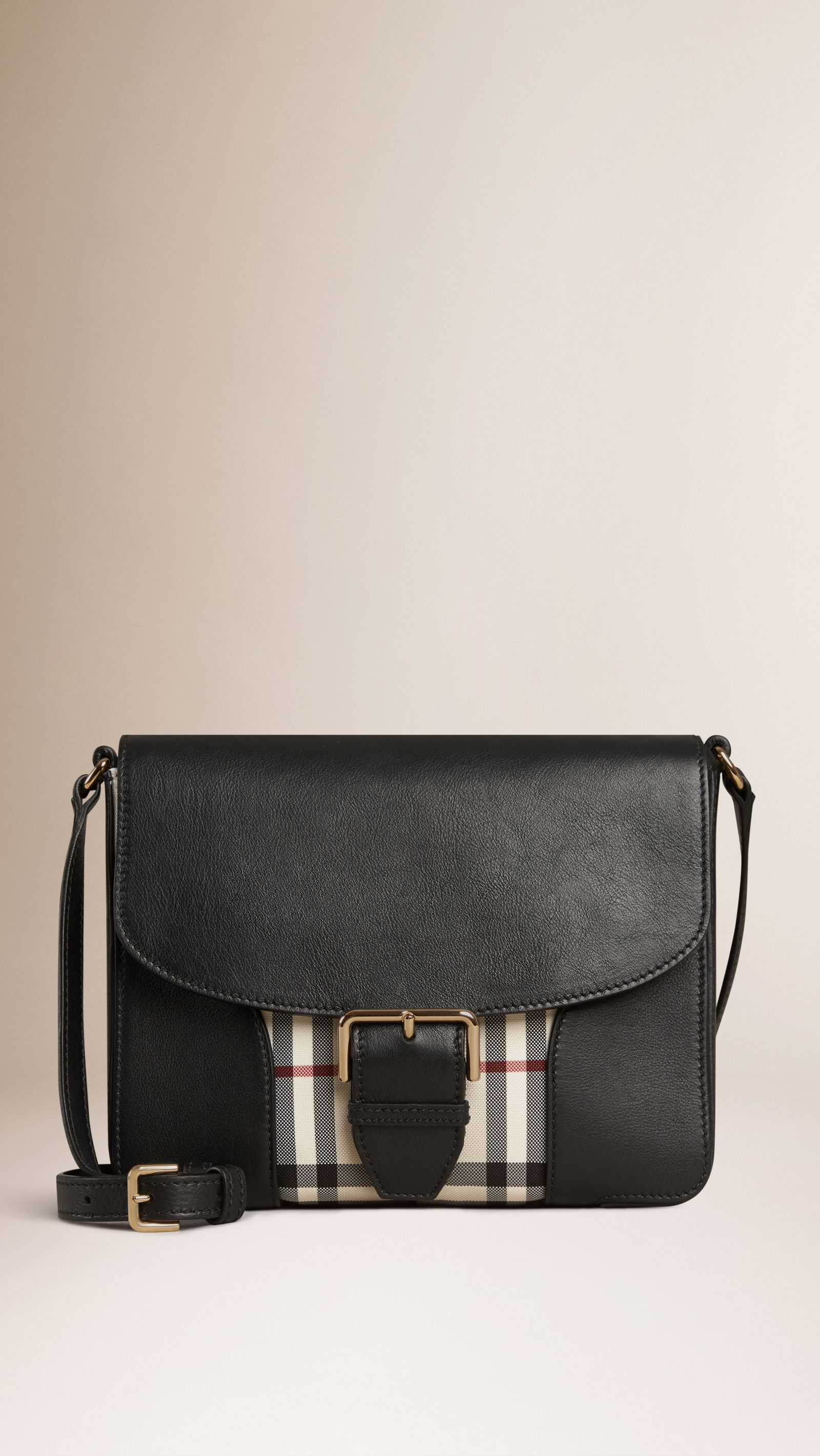 74b0feb58b2e Small Horseferry Check and Leather Crossbody Bag Stone black ...