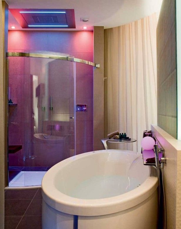 Small Bathroom Decorating Ideas I Love That The Lights In Shower Are Pink