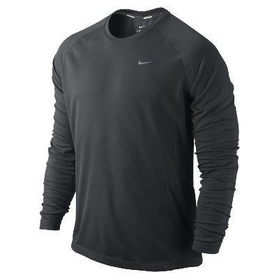 Nike Men's Dri-Fit Miler Long Sleeve Reflective Lightweight Running Shirt  White