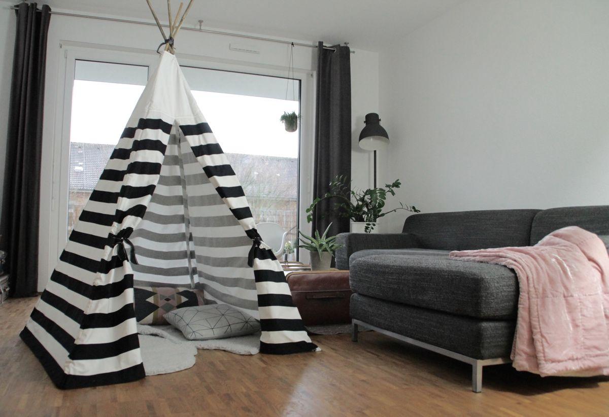 Kinderzimmer decke diy tipi in schwarzweiss  nähen  pinterest  kinderzimmer nähen