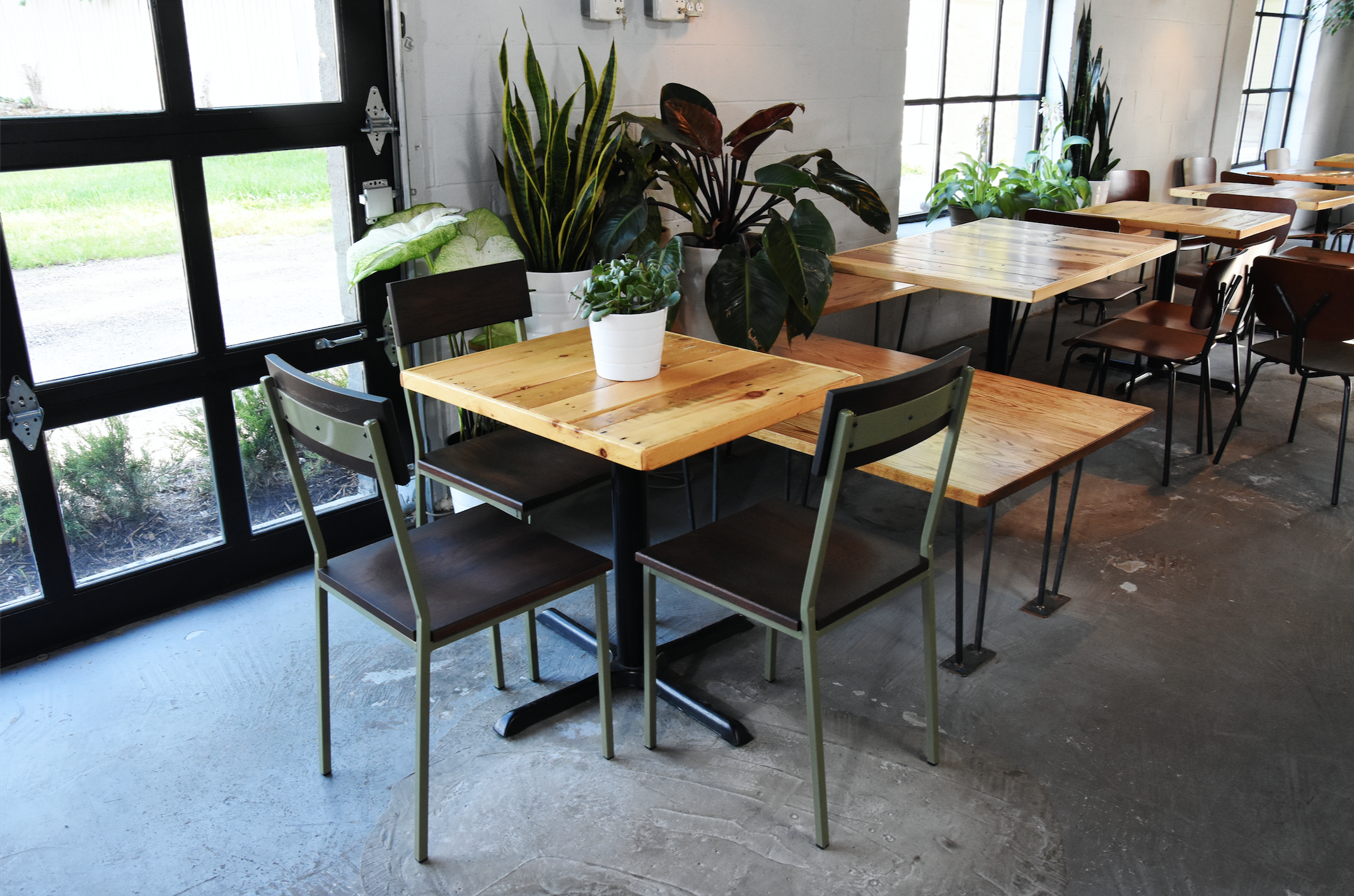 Commercial Dining Room Chairs Delectable Transit Chair X Base Salvaged American White Oak Table Top Inspiration