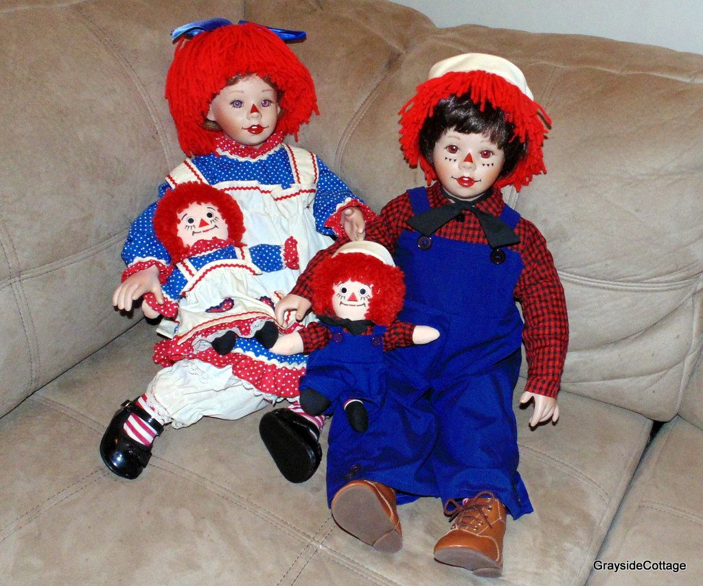 raggedy ann and andy porcelain dolls danbury mint retired with
