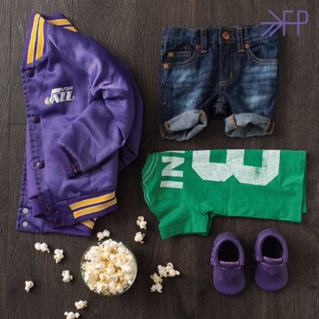 Little Sports Fan Style - featuring Huckleberry moccs from Freshly Picked #Vintage #UtahJazz