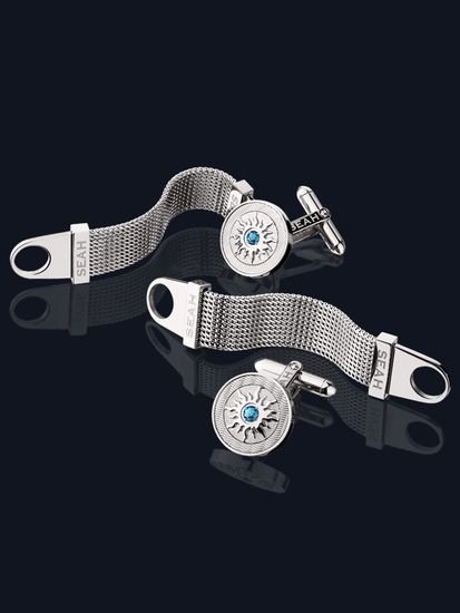 Crown Of Light® Men's Fashion Cufflinks with Blue Diamond