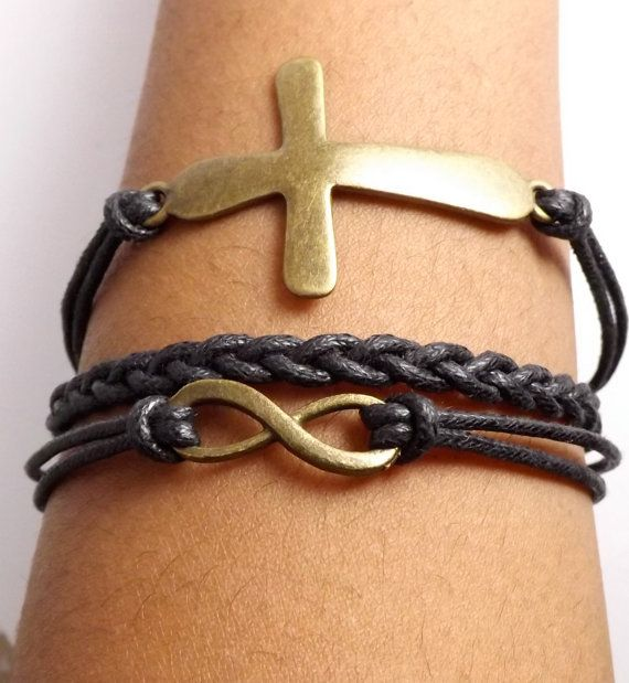 Faux Leather Infinity Cross Bracelet for Men & Women Made in USA by DaisyBellBeads