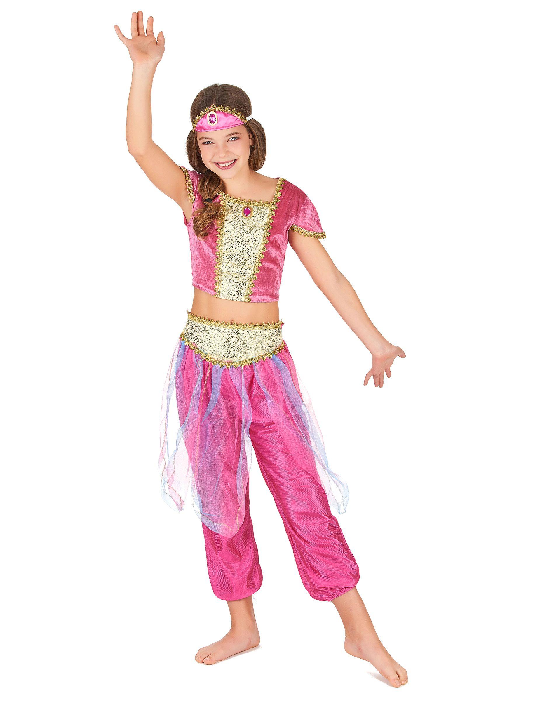 cf910915880bb Déguisement danseuse orientale fille   Ce déguisement de danseuse orientale  pour fille se compose d un pantalon rose satiné effet bouffant ainsi que  d une ...
