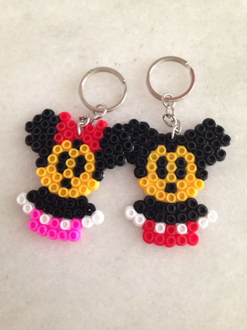 Minnie and Mickey Mouse keyrings hama beads by Deniz Çiçek