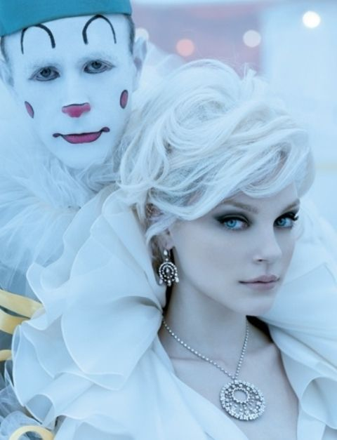 Love her makeup here - the girl, not the clown...