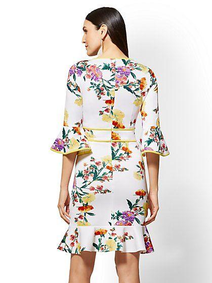 Floral Ruffled Sheath Dress - New York & Company | bridal shower and ...