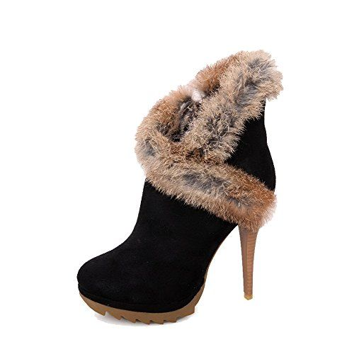 ENMAYER Womens Closed Round Toe Thick Heel Solid Boots with Real Rabbit Fur