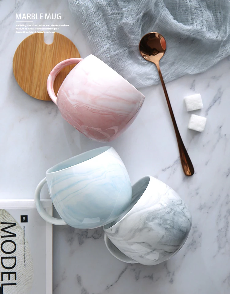 Nordic Style Marble Ceramic Mug With Spoon and Lid Soup Cup Mug For Home Or Office Handy Gift for Tea Coffee Drinkers And Big Mug Lovers