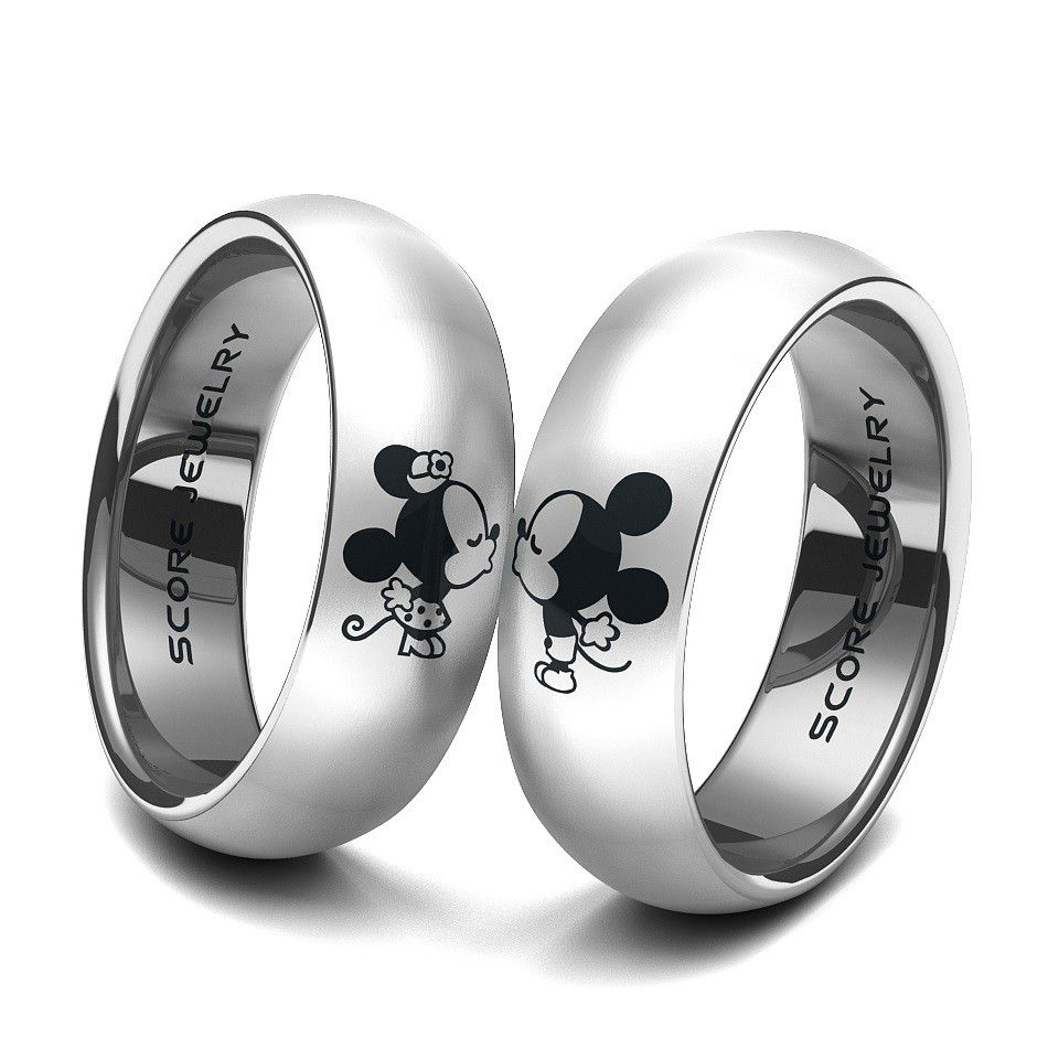 Couple Set Tungsten Band With Domed Edge Mickey Minnie Mouse Pattern Wedding Ring: Minnie Mouse Wedding Ring At Websimilar.org