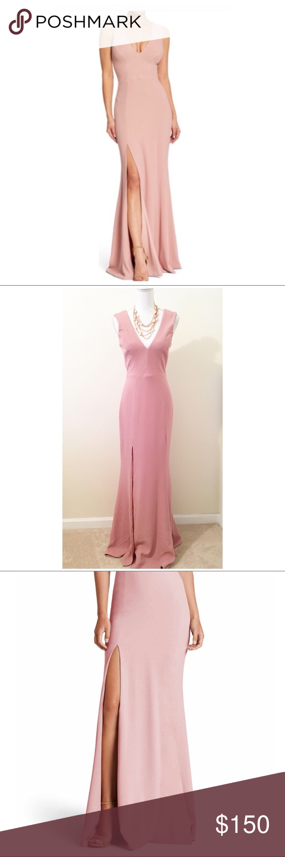 "5193ad58b2ad Nwot dress the population slit gown ""Sandra plunge crepe trumpet gown""  Available now at Nordstrom for 288 New no tags Never worn Sizes xs and s  Dress the ..."