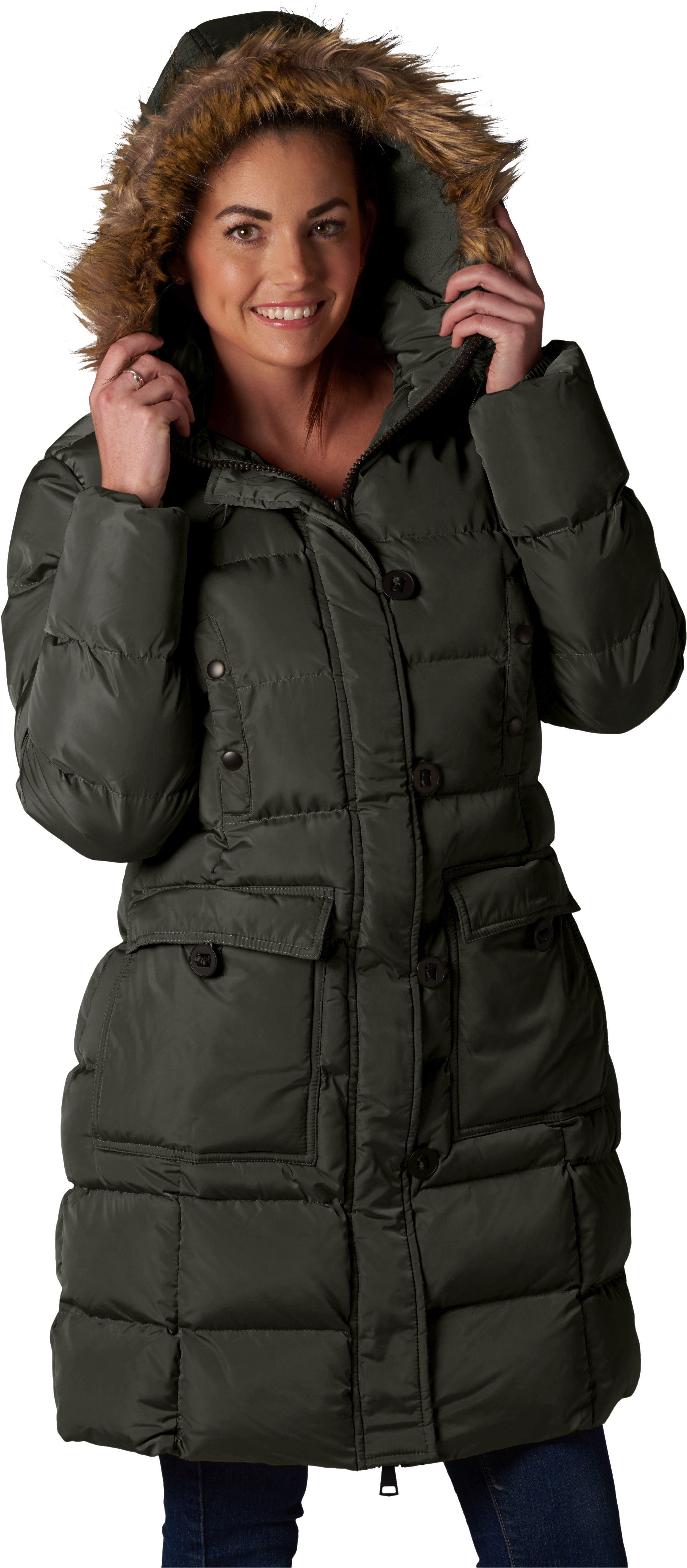 Women's Puffer Coat with FauxFur Detachable Hood Women