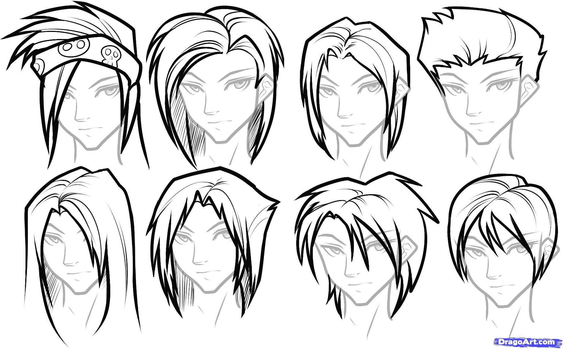 How To Draw Hair For Boys Step 14 Anime Boy Hair Anime Drawings
