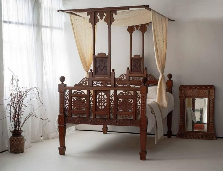 Bedroom Mesmerizing Four Poster Bed With Gorgeous Canopy Bed Curtains Mesmerizing Four Poster Bed With Classic Wood Indian Decor Poster Bed Four Poster