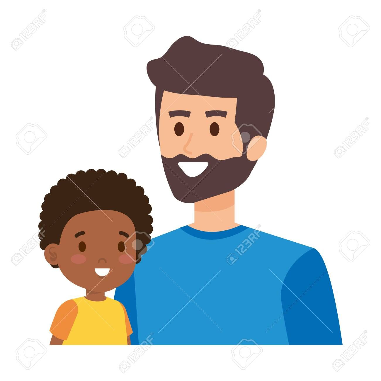 young father with afro son characters vector illustration design ,