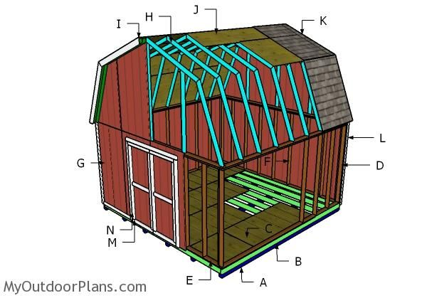 16x16 Gambrel Shed Plans Myoutdoorplans Free Woodworking Plans And Projects Diy Shed Wooden Playhouse Pergola Bbq In 2020 Barns Sheds Shed Plans Diy Shed