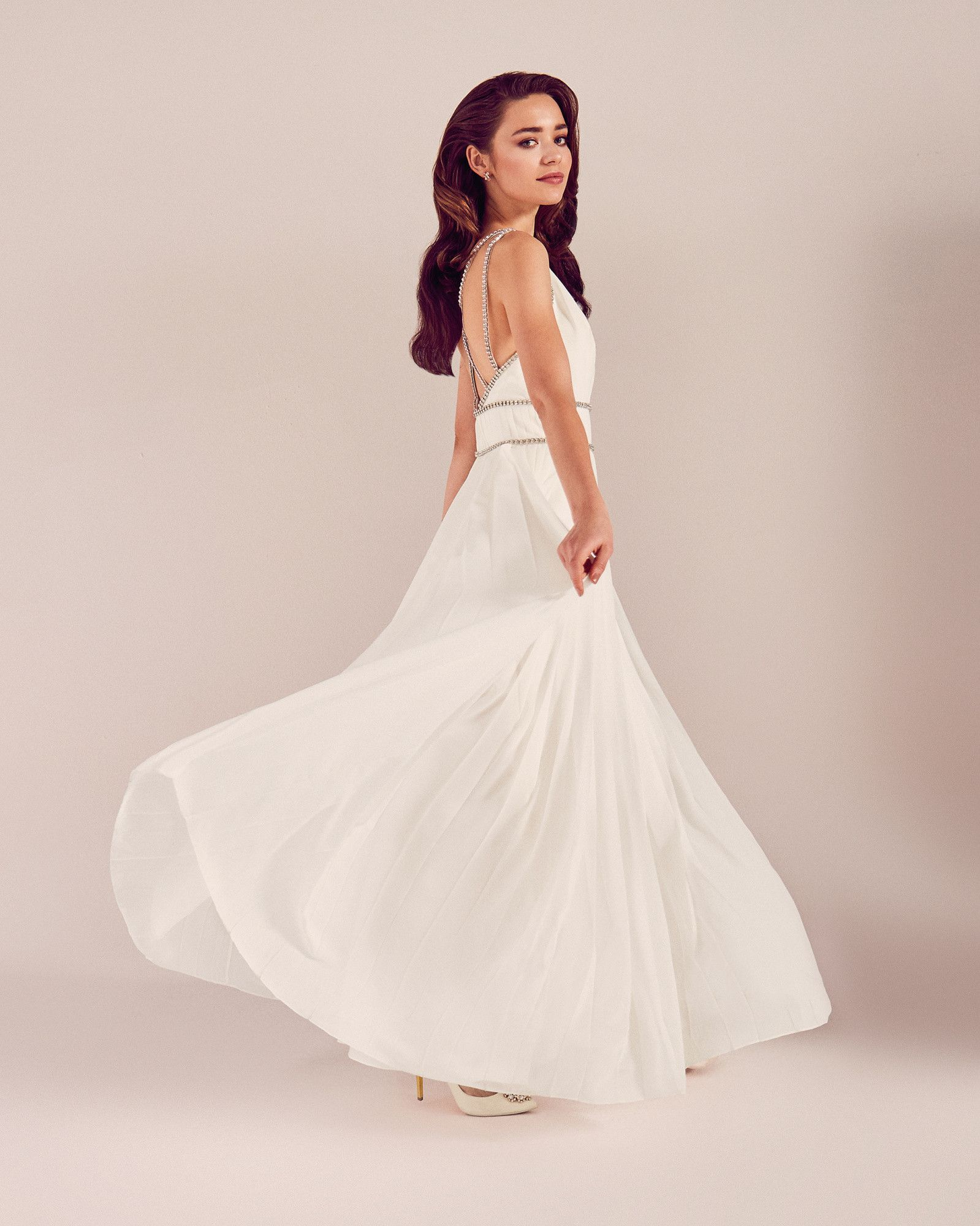 Embellished trim pleated bridal dress - White | SS17 Tie The Knot ...