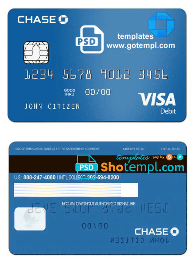 Usa Chase Bank Visa Debit Card Template In Psd Format Fully Editable Visa Debit Card Chase Bank Debit