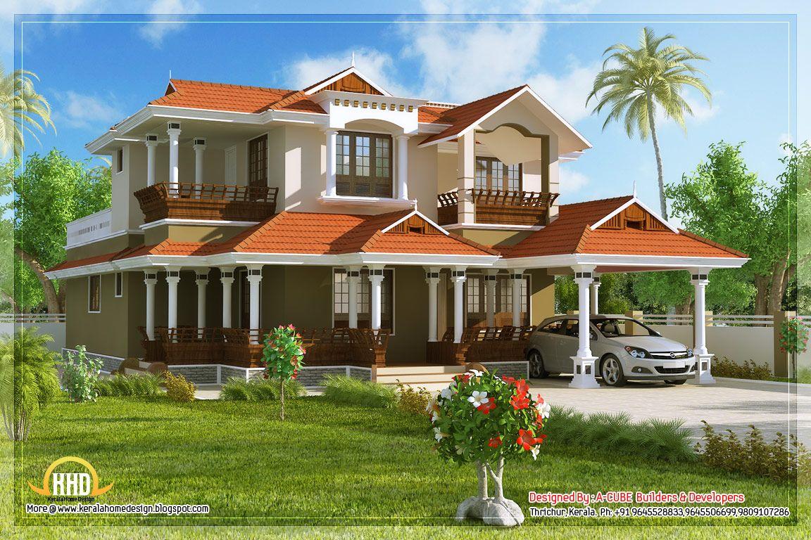 Beautiful 4 bedroom house in kerala style wallpaper