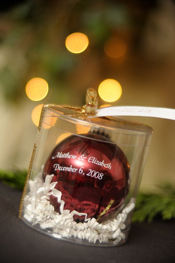 wedding favor for a christmas wedding probably wouldnt just want our names on it because who wants to put that on their tree but maybe a bible verse or