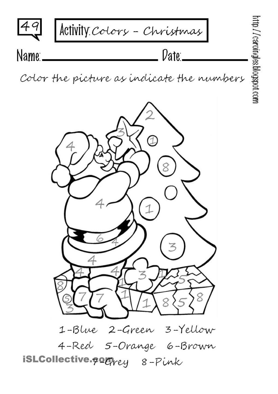 Colour By Number Worksheet Free Esl Printable Worksheets Made By Teachers Christmas Worksheets Holiday Worksheets Holiday Worksheets Kindergarten