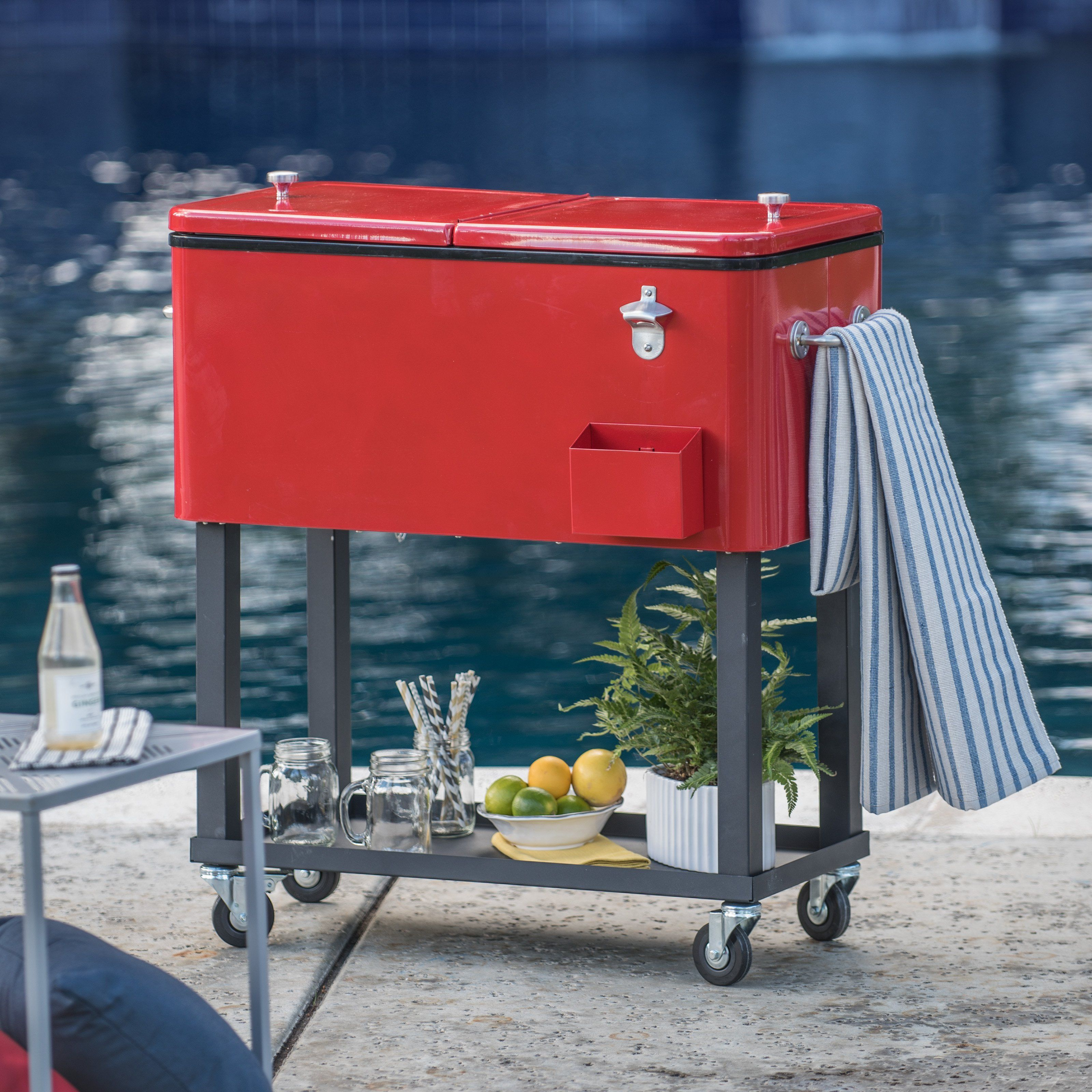 ice rolling info cooler steel portable stainless cart museosdemolina patio chest