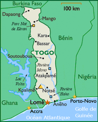 I have here the map of Togo showing its capital Lome Also the