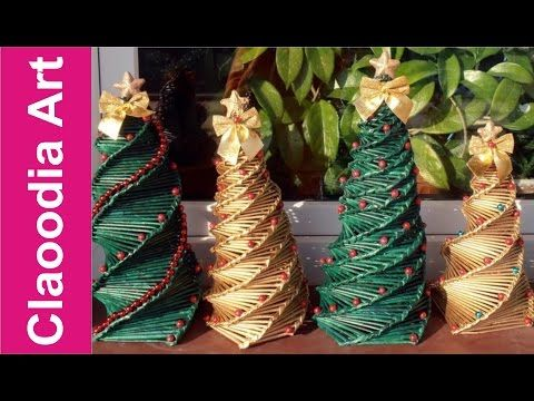 C mo hacer un rbol de navidad con papel de mimbre youtube navidad pinterest navidad - Arbol navidad ratan ...