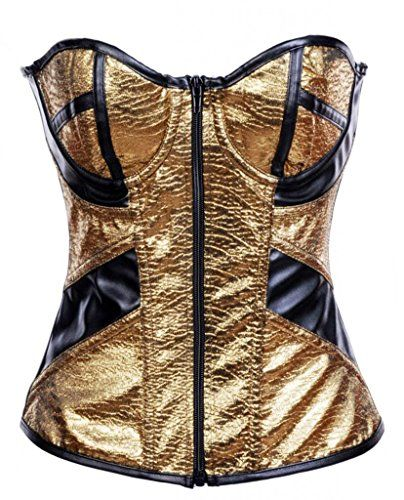 Alivila.Y Fashion Sweetheart Faux Leather Corset 2953 With G-String-Gold-L Alivila.Y Fashion Corset
