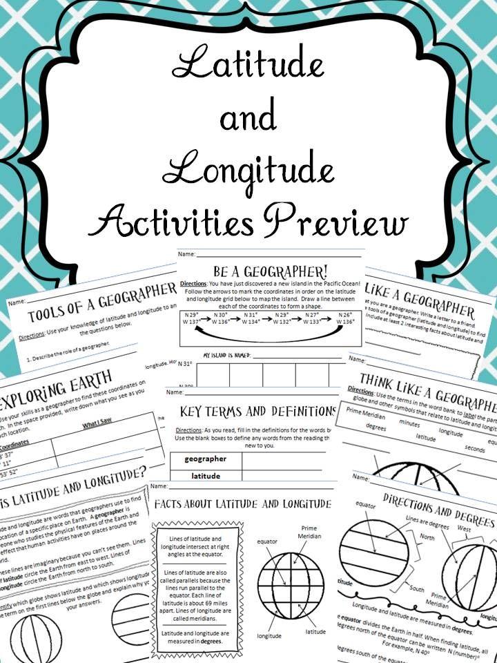 Latitude And Longitude Activities Social Studies Pinterest