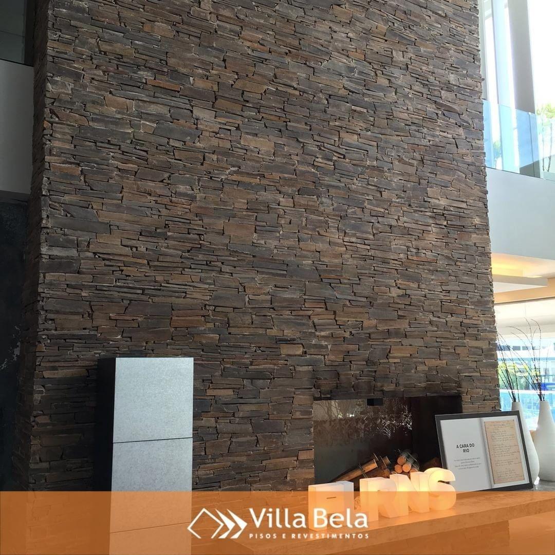 Lareira Revestida Com Pedra Ferro Pietrecolorate Villabelarev
