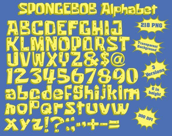 Spongebob Squarepants Full Alphabet Numbers And Symbols