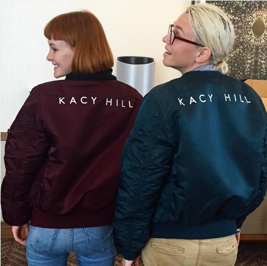0843f2073b6358 Who says a bomber has to be basic  Kacy Hill and her tour manager in custom  Alpha flight jackets.
