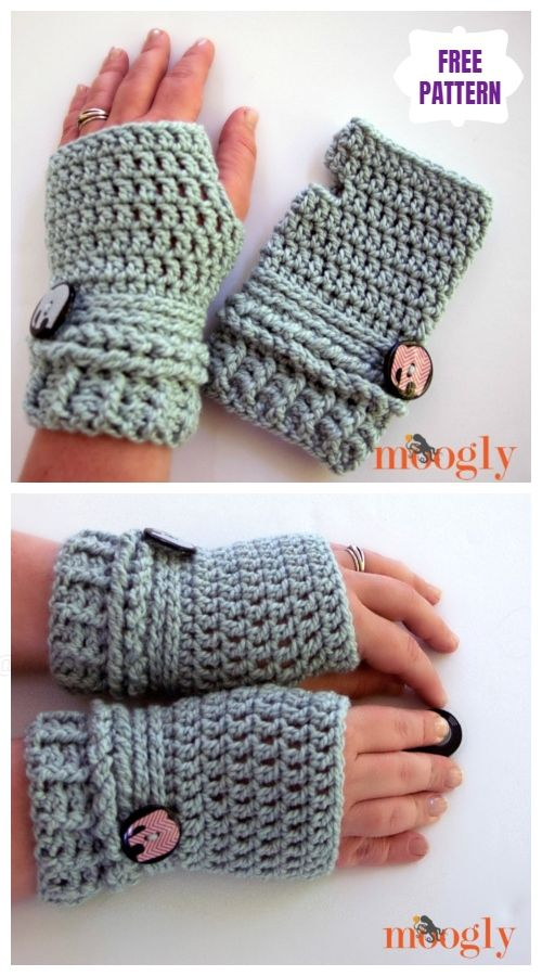 Ups & Downs Slouchy Hat & Gloves Set Free Crochet Patterns #gloves