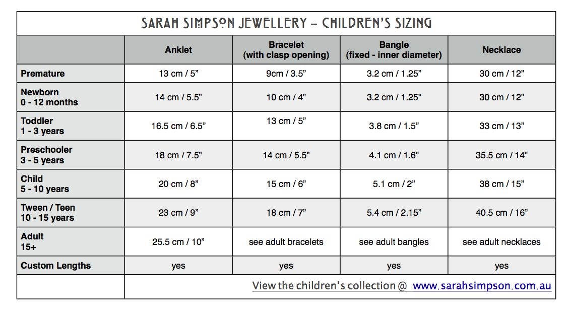 Baby Children S Jewellery Size Chart Instructions On The Perfect Fit For Any Age Necklace Size Charts Bracelet Size Chart Childrens Necklace