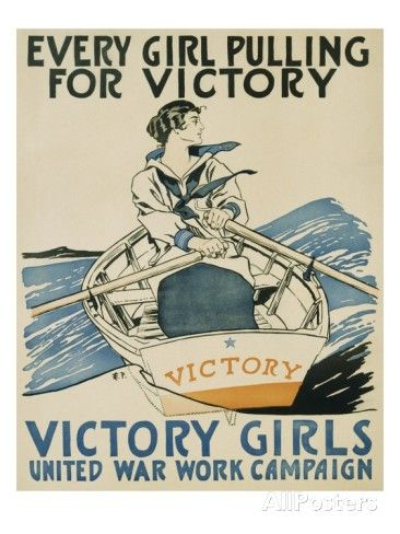 VINTAGE VICTORY GIRLS PULLING BOAT WAR POSTER A2 PRINT