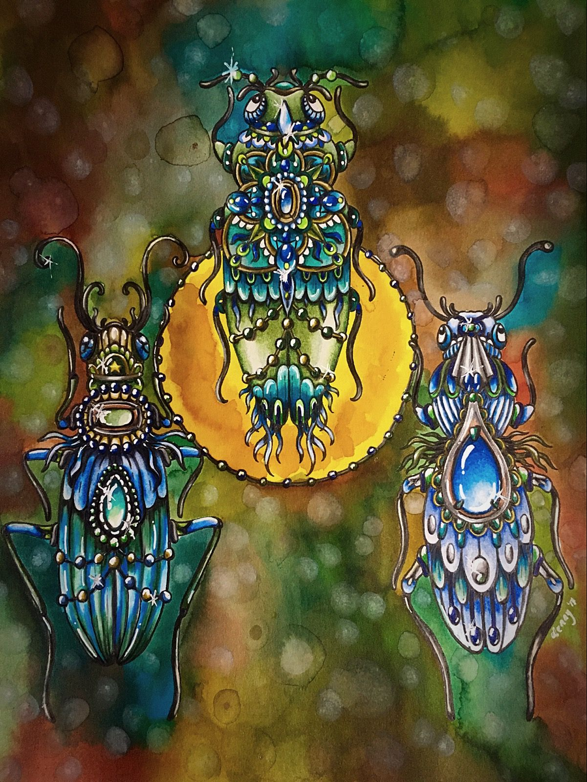 Bugs In Greens And Blues Faber Castell Caran Dache Prisma Color Premier Watercolors