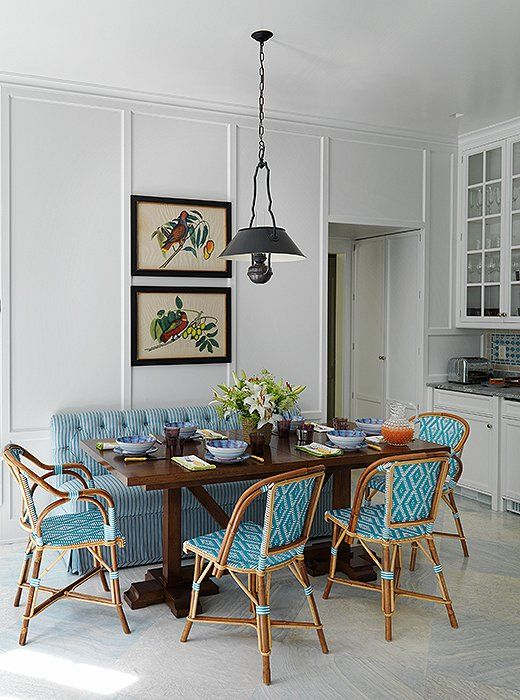 Where to find the best woven bistro chairs   Divine Dining Areas     Simple Dining Room with Blue Diamond Pattern Bistro Chairs