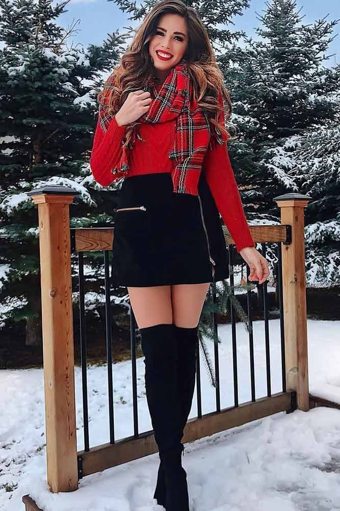 30 Holiday Outfit Ideas Women S Fashion Winter Fashion Outfits Christmas Outfit Casual Red Sweater Outfit