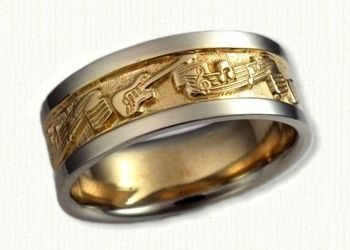 A Music Themed Wedding Band With Guitars And Notes